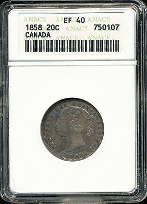 1858 Canada Sterling Silver 20 Cent Piece ANACS EF40 1 Year Type