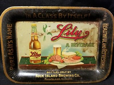 Vintage Lily Beer Rock Island Brewing Co Small Tip Tray Advertising