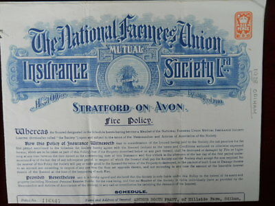 National Farmers Union Insurance Society, Fire Policy, 1928 (Odiham interest)