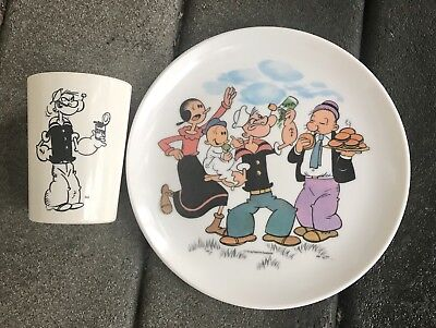 POPEYE the Sailor Vintage Melmac Cup and Plate Childrens Sweet Pea Olive Oyl