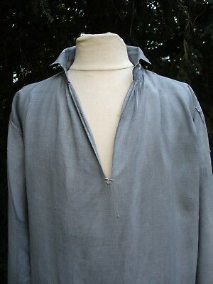 ANTIQUE FRENCH LINEN SHIRT TUNIC HAND DYED GRAY SMOCK 19th