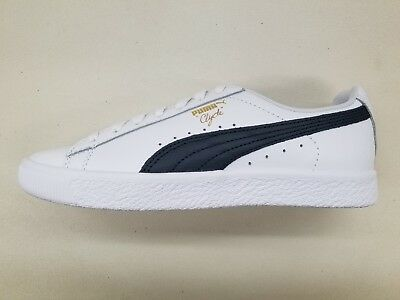 8c5e00dabdd55e Puma Clyde Script White Peacoat Navy Gold Mens Size Retro Sneakers 364669-02