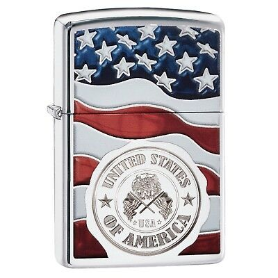 Zippo American Stamp on Flag Lighter 29395
