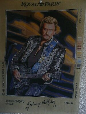 """Tapestry Canvas """" Johnny Hallyday""""  New by Royal Paris"""