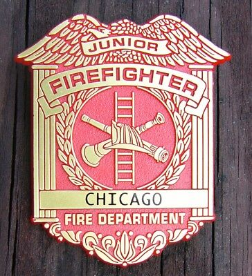 Late 50s/Early 60s Junior Firefighter Plastic Toy Badge Chicago Fire Department