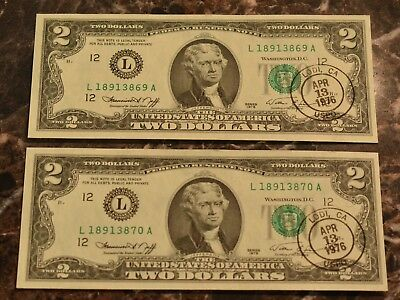 Lot of 2 $2 Sequential 1976 Postmarked Bicentennial Notes UNC Cond. US Currency