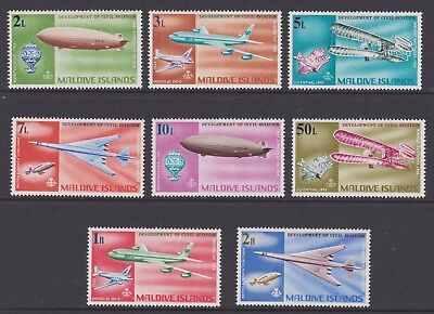 MALDIVE ISLANDS 1968 - COMPLETE SET OF 8 x LMM STAMPS - CIVIL AVIATION