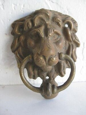 Antique SOLID BRASS FIGURAL LION HEAD DOOR KNOCKER PULL RARE! ARCHITECTURAL