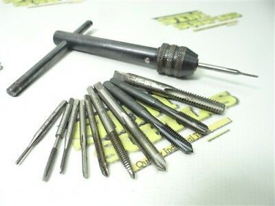 """Lot Of 11 Assorted Hss Taps W/ Tap Wrench #0-80Nf To 5/16""""-18 Regal Gtd Osg"""