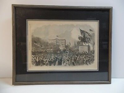 ORIGINAL HARPER'S WEEKLY May 4,1861 CIVIL WAR GREAT UNION SQUARE MEETING FRAMED