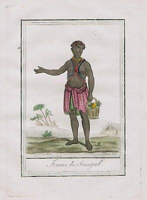 1780 - Senegal West Africa people costume engraving antique print negro tribe