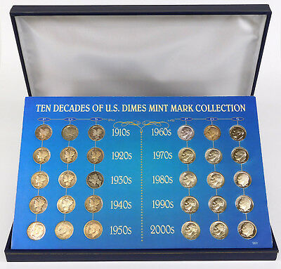 United States Dime Mint Mark Collection - 30 Dimes - Mercury & Roosevelt Incld.
