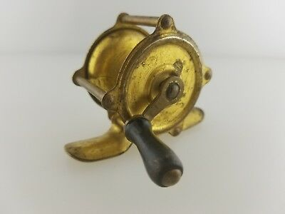 Vintage Small Brass Casting Fishing Reel - Unknown Make and Age