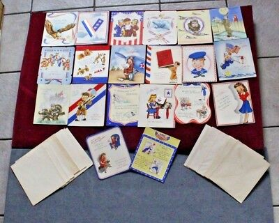 Vintage World War II lot of 20 Greeting Cards all Military Encouragement Cards