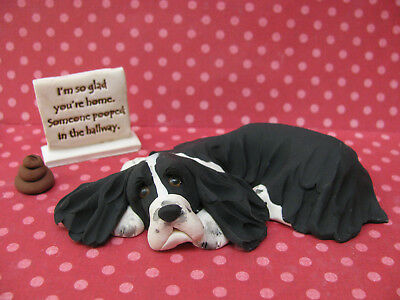 """Handsculpted B/W English Springer Spaniel """"Someone pooped"""" Figurine 3 pc."""
