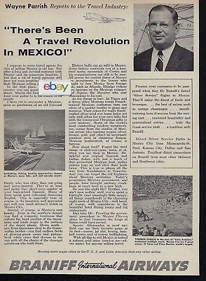 Braniff International Airways 1960 There's A Travel Revolution In Mexico Ad