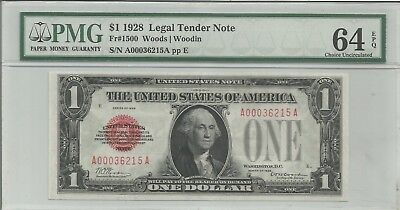 1928 $1 Legal Tender Note Pmg 64