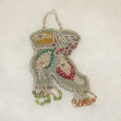 Antique beaded Indian shoe wall pocket