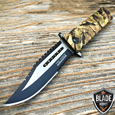Tac-Force Spring Assisted Open Sawback Bowie Rescue Camo Tactical Pocket Knife-T