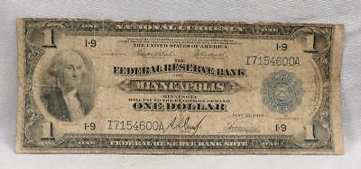 1914 $1 Federal Reserve Bank Of Minneapolis National Currency Large Note!