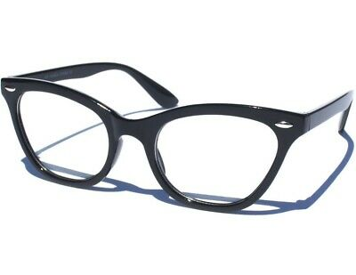 984386b7143f CAT EYE Classic Retro Style Clear Lens Glasses Vintage Inspired Black Frame  New
