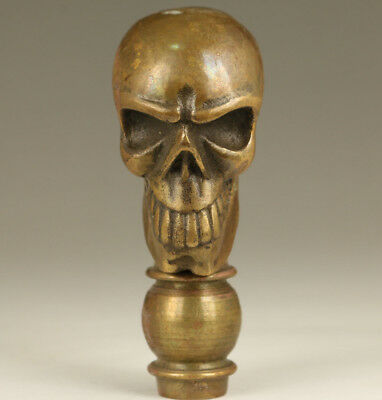 Cool Chinese Old bronze Hand Carved skull Statue Walking stick head