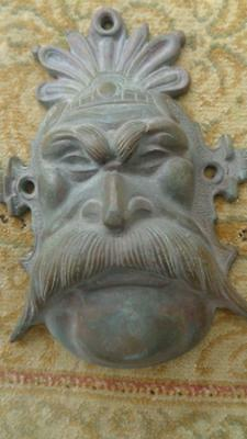 """Vintage Brass Mask Face of a Man Asian 6 x5"""" inches Wall Handing"""