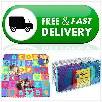 Foam Puzzle Play Mat 36 Tiles Alphabet and Numbers For Kids, Babies, Toys, Play