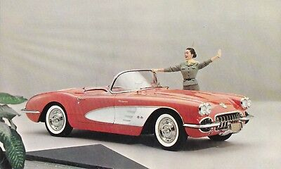 "1958  chevrolet "" CORVETTE "" signet red-snowcrest white  advertising  POSTCARD"