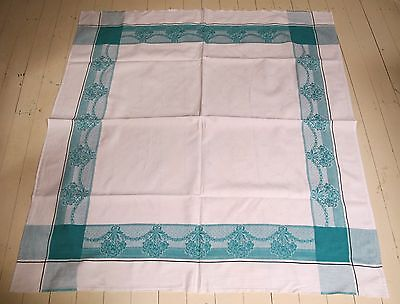 TABLE CLOTH White COTTON Damask Green border Flower Garlands TABLECLOTH Vintage