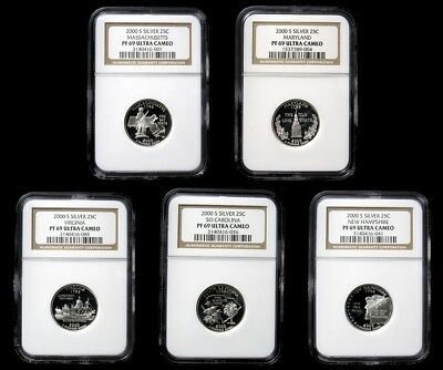 Complete 2000-S Silver Proof State Quarters - NGC PR69 Ultra Cameo - Certified
