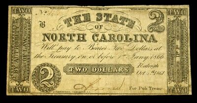 1861 Issue State of North Carolina Confederate States $2 Note - VG+/Fine
