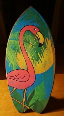Pink Flamingo Surfboard Sign Tropical Island Coastal Florida Beach Home Decor