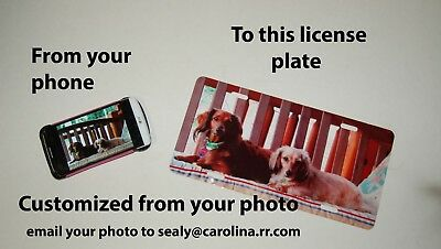 Custom Novelty License Plate from your photo car pet children