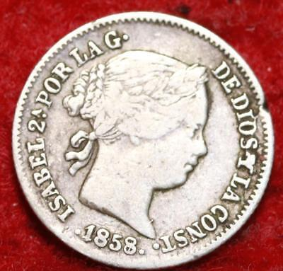 1858/7 Spain Real Silver Foreign Coin