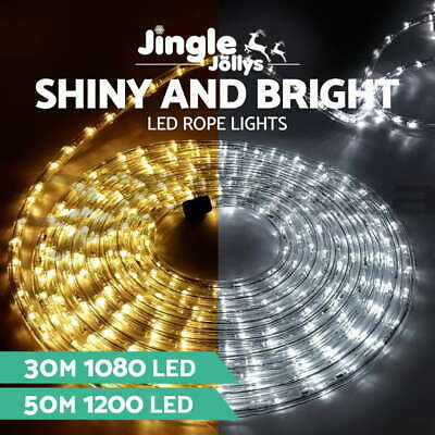 Jingle Jollys 30M 50M LED Christmas Rope Lights Fairy Party Wedding Garden Decor