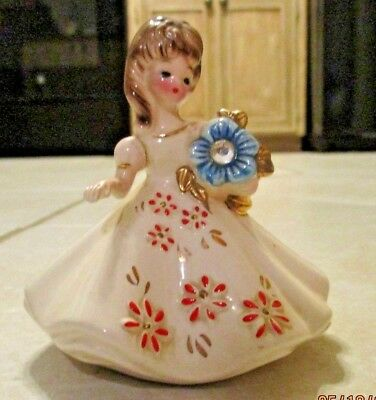 Vintage Josef Originals December Flower Girl Birthday Month Figurine Japan