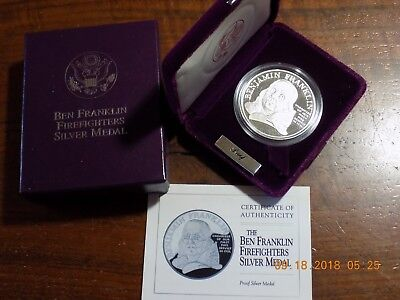US Mint BEN FRANKLIN FIREFIGHTERS Silver Medal - Cameo Proof w/ Box & COA