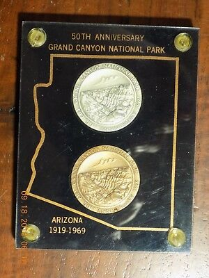 1919-1969 50th Anniversary Grand Canyon National Park Silver & Bronze Set #581