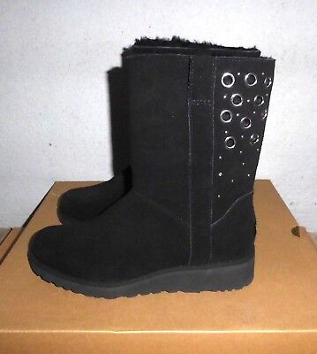 2a149a5a763d Ugg Madison Black Suede Classic Slim Wedge Boots 7Us 38Eu Msrp  210 New