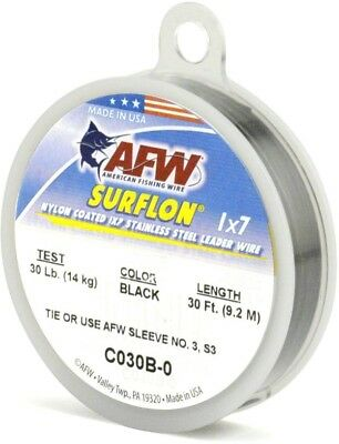AFW C020B-0 Surflon, Nylon Coated 1x7 Stainless Leader Wire, 20 lb (9