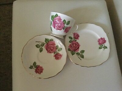 4 x bone China tea cup, saucer and plate sets