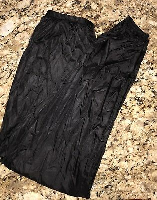 """Body Wrappers Rip Stop Black """"Garbage Bag"""" Pants, Size Medium , Warm Up Dance"""