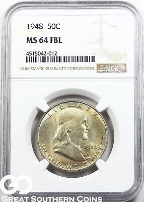 1948 NGC Franklin Half Dollar, Full Bell Lines, NGC MS 64 FBL ** Nice Toning