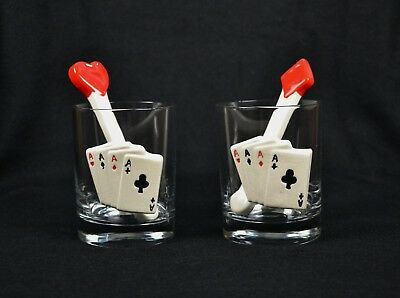 Vtg 60s Set of 2 Playing Cards Tumblers Rocks Glasses Aces Swizzle Stick Poker