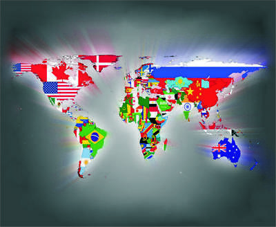 mp0043 Countries Flag Map Mouse Pad