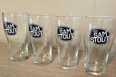 Set Of 4 Samuel Adams Sam Stout Beer 16oz. Pint Glasses, New, Bar ware, Mancave