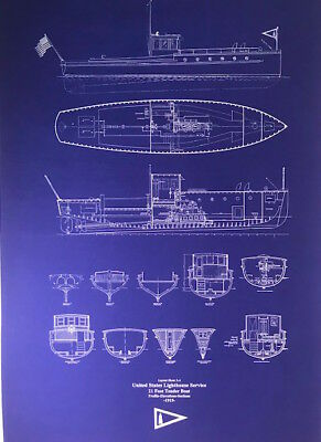 US Lighthouse Service Boat 1915 Blueprint plan 24x35 (024)
