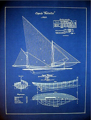 "Boat Plan Sailboat Yacht 1905 Blueprint Drawing 18"" x 24"" (011)"