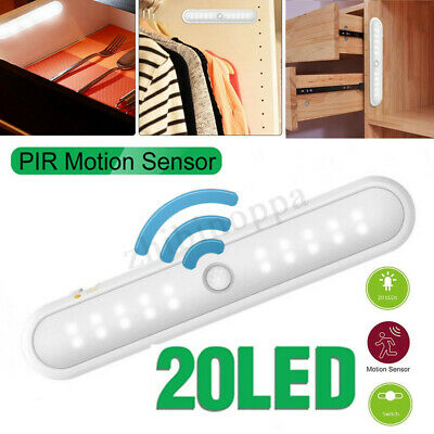 Portable 20 LED Wireless Cabinet Night Light Motion PIR Sensor Closet Under Lamp